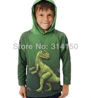 FREE SHIPPING----boy hoodie boy spring/autumn wear sweatshirts children long sleeves cotton clothing cartoon dinosaur 1pcs