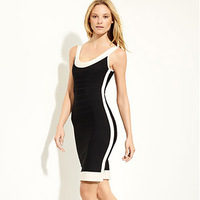 Free shipping 2013 women Brand Newest black and white patchwork sexy zipper Dress HL Cocktail prom Dresses HL8530