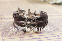 yound lady  leather bracelet  wrap the tree of life charming bracelet fashion girl accessories