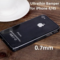 0.7mm Ultrathin aluminum Metal Frame Bumper Case For apple iPhone 4 4S, Free Shipping+ Free screen protector