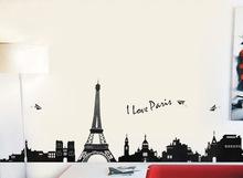 110 centímetros * 38 centímetros PVC Eiffel enforcamentos Torre de parede sala quarto fundo decoração adesivos de parede TC954(China (Mainland))
