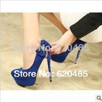 Free shipping 2013 Sexy ultra-high documentary autumn new fund han edition bowknot tassel diamond waterproof shoe heel shoes