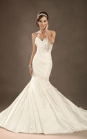 2013 Free Shipping Wedding  dress Taffeta Lace up White/Iovry Chapel train Trumpet Custom-made