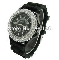Wholesale-100pcs Fashion Geneva Lady Quartz Watch Silicone Candy Wrist Watch with Rhinestone Child Christmas Gift