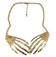 Spring New Vintage Punk Skeleton Skull Hand Claws Choker Chunky Collar pendant Necklaces collares jewelry