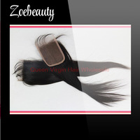 Free shipping virgin straight Peruvian hair free part lace top closure bleached knots,4''*4'' queen remy lace front closure