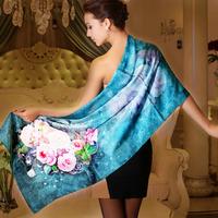 Wholesale Retail 100% mulberry Silk scarf Female long design Big size 175cm * 52cm silk cape gift box set