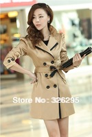 2013 Autumn Slim Fitted Black Trench Coats For Women Korean Style Fall Beige Long Peacoats Windbreaker Overcoat