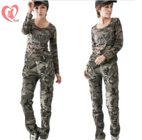Women autumn outdoor sports multi-pocket cargo pant, army fans camouflage slacks/trousers, free shipping