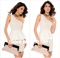 New Arrival Women's Fashion White One-shoulder Peplum Party Prom Wear Mini Dress Ladies Sexy Cocktail Party Dress One Size