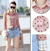 Black Pink Women Charismatic OL Career Charming Dots Long Sleeve Shirt Blouse High Quality  8199