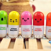 Min order $10 free shipping Stationery Cute cartoon face pills retractable Ballpoint Pens Office&Study women promotion gift