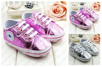 Hot sale (1 pair to sell) bling bling cute star style baby first walker baby shoes sneakers pink/silvery