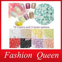 3000pcs, 2mm 3mm 4mm ABS Semicircle Pearl Nail Art Decoration,3d Hot DIY Flatback Nail Beads,Phone Accessory, Free Shipping