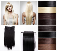 Free Shipping- 23''Straight Full Head 8Pcs Clip in on Hair Extension -8Colors Available--High Quality-heat resistant
