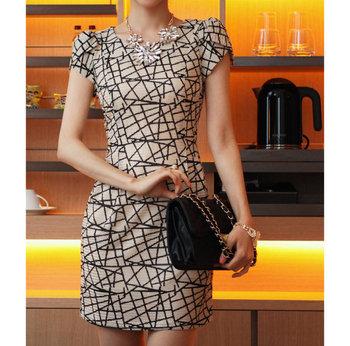 Onsale autumn-summer dresses new fashion2013 high waist ladies office dress geometric pattern print plus size women clothing966#