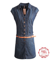 DS0123 Free Shipping 2013 new summer Europe STYLE One-Piece Vintage pure color denim blue jeans dress high quality