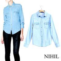 Denim Women Blouses 2014 New Spring Fashion Clothing Shirt High Street Vintage Rivet Blusas Femininas Tops For Women Work Wear