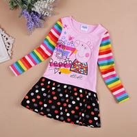 FREE SHIPPING H4235# Nova Kids wear girls embroidery lovely cartoon peppa pig Children clothing cotton long sleeve dresses
