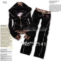 Free Shipping 2013 Fashion Female Sportsuit Brand Design Leopard Long-sleeved Hooded Women's Leisure Suit Sportswear