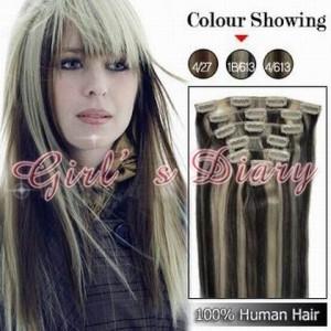 15''-22'' Magic hair clip hair 7pcs Human Hair Extension 70g 80g #1B/613 STOCK Dropshipping freeshipping