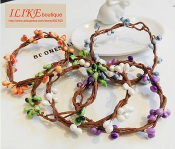 Free Shipping MOQ$18.00 Mori Girl Vintage Vines Cirrus Small Fruit Hand Ring Cirrus Bracelet Flower Vines Wristband (7 colors)