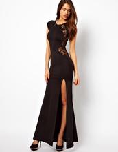 Plus size S-XXL Fishtail Maxi Dress with Lace Back/Red split side mermaid long evening dress vestido de festa sereia 2014 LC6137(China (Mainland))