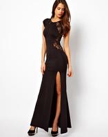 Plus size S-XXL Fishtail Maxi Dress with Lace Back/Red split side mermaid long evening dress vestido de festa sereia 2014
