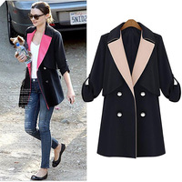 Free Shipping 2013 women's Autumn Winter Brand Color Block Double Breasted Plus Size Fitness Denim Black Trench Coat DM131584