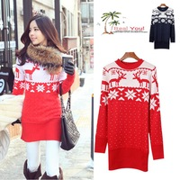 Designer New Women's deer moose  Elk snowflake pattern round neck full sleeve sweater knitting pullovers for 2013Fall&Winter