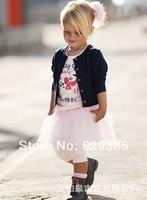 Retail Hot Sale! Girl's autumn Suits baby kids's Set 3pcs suit Long sleeve coat+T-shirt+ tutu skirt  clothing sets Free shipping