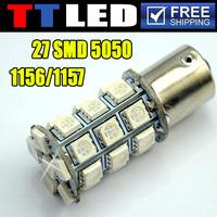 4 X 27 SMD 5050 LED S25 1156 1157 BA15S BAY15D P21W Car Turn Signal Brake Backup led bulb 12V white yellow Free shipping #TF05