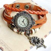 New arrival Sunflower tag Genuine Cow Leather Watch women ladies dress quartz wrist watch drop shipping kow058