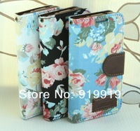 New!!Cloth Texture Peony Pattern Leather Cover with Credit Card Slot/Holder for Samsung Galaxy S4 mini/i9190  Free Shipping