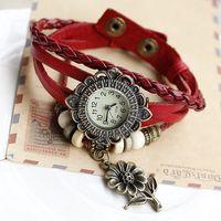 Genuine Cow Leather strape wrist watch women ladies men fashion vintage Sunflower wristwatches KOW059