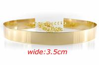 Free Shipping Designer Belts Fashion 2013  Metal Keeper Metallic Bling Gold Mirror 3.5cm Wide Obi Belt Corset  JP082121