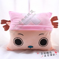 anime figure one piece Tony Tony chopper square pillow plush hand warmer muff multifunctional cushion