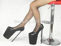 """Black matt imported PU 12"""" high-heels and 8"""" high platform dress pumps,size 5 6 7 8 9 10 11 12 13 14 15"""