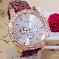 Wholesale women wristwatches ladies fashion leather strap quartz watch rhinestone Women watches FS97