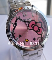 Free & drop shipping 1pcs/lot retal hot sales fashion Hello Kitty Stainless steel women ladies Quartz wrist Watch