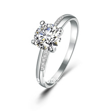 100% pure 925 sterling silver platinum  Engagement  ring fine jewelry GSR003
