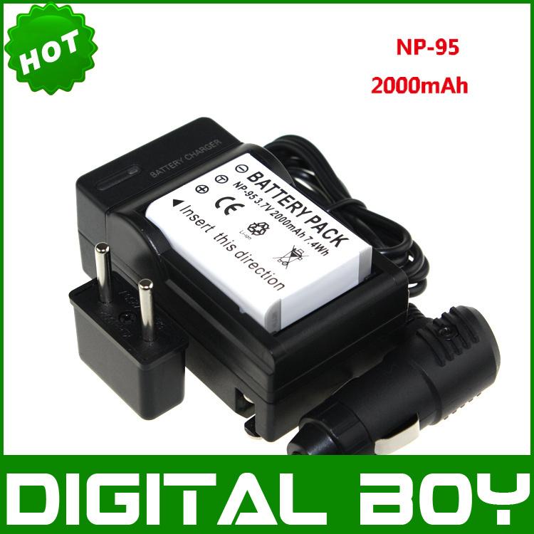2000mAh 1pcs NP-95 NP95 NP 95 Camera Battery +1 charger for Fujifilm FinePix F30 F31fd Real 3D W1 X-S1 X100 X100s GXR PM038(China (Mainland))