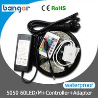 Free Shipping12V 5050 RGB waterproof LED Strip Light 60LEDs/M 5M/Roll +24Keys IR Controller+72W Power Supply