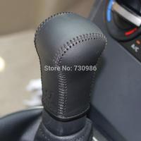 XuJi Black Genuine Leather Gear Shift Knob Cover for Nissan Qashqai Manual Transmission