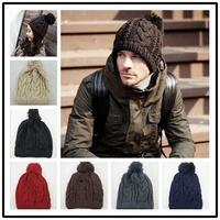 New 2014 Men's Winter Hat Beanie for Women Outdoors Cap Twist Knitting Wool Ear warm Sport Skullies