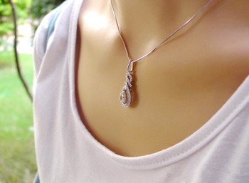 Lover's Heart high synthetic SONA Diamond Pendant, women short Pendant, 925 Sterling Silver necklace with the snake chain