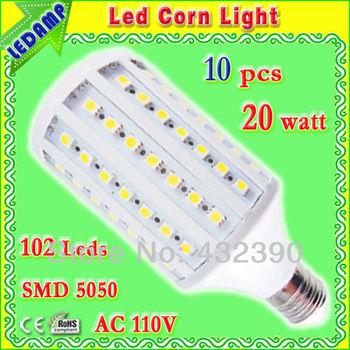 warm white / white led corn light e27 20w with 102 smd 5050 warm white light bulbs ac 110v 360 degree 10 pcs/lot free shipping