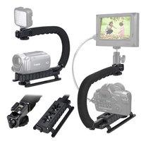 New U Shape Flash Camera Bracket Stand Grip Holder Black For DV Camcorder