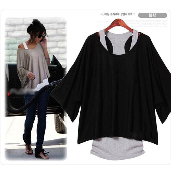 Euro Fashion Loose Casual Short Sleeve T-Shirts Women's Batwing Sleeve Tops ( Tank + T shirt) 0340(China (Mainland))