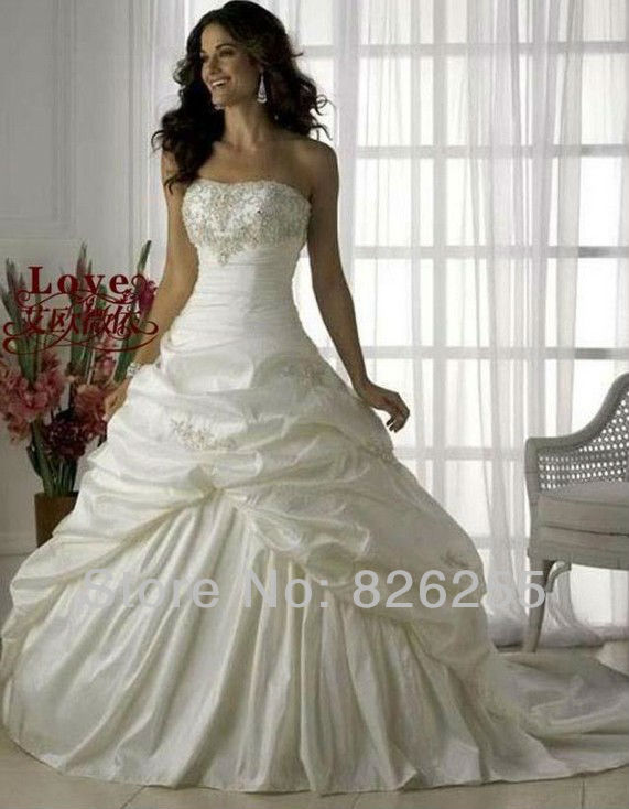 In Stock Free Shipping 2013 Cheap White/Ivory Princess Embroidery Elegant Wedding Dresses/Gowns WD0338(China (Mainland))